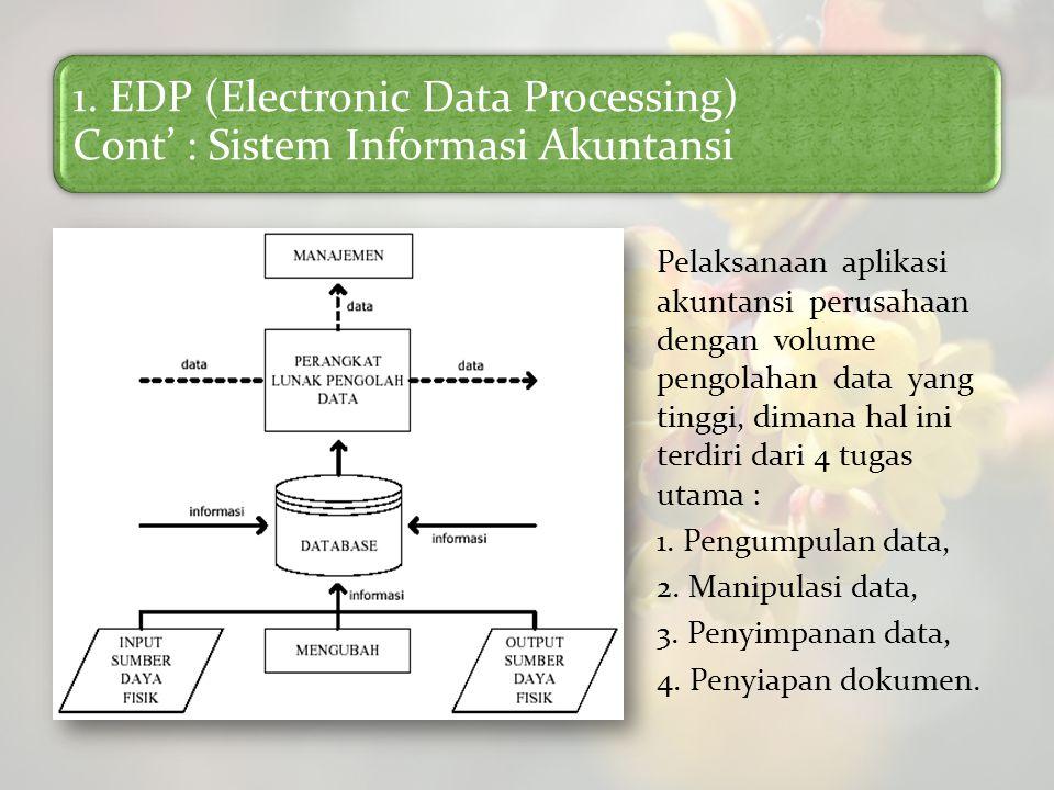 1. EDP (Electronic Data Processing) Cont' : Sistem Informasi Akuntansi