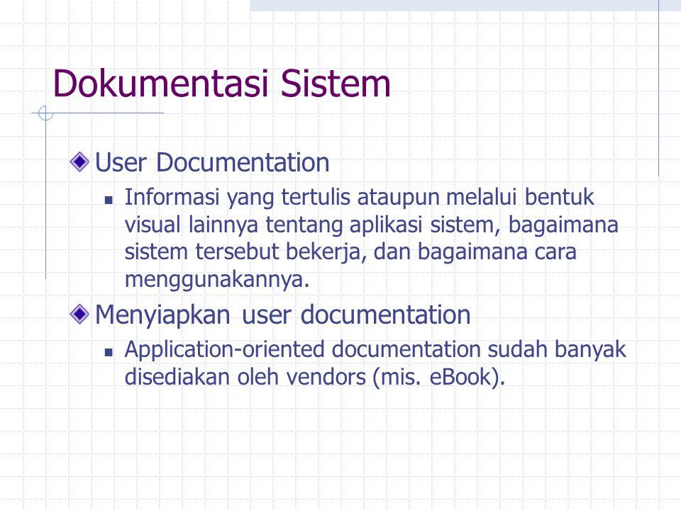 Dokumentasi Sistem User Documentation Menyiapkan user documentation