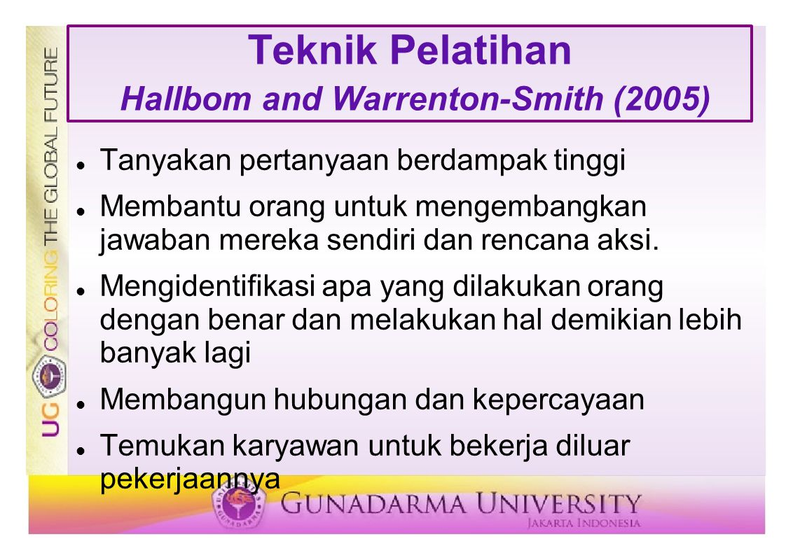 Teknik Pelatihan Hallbom and Warrenton-Smith (2005)