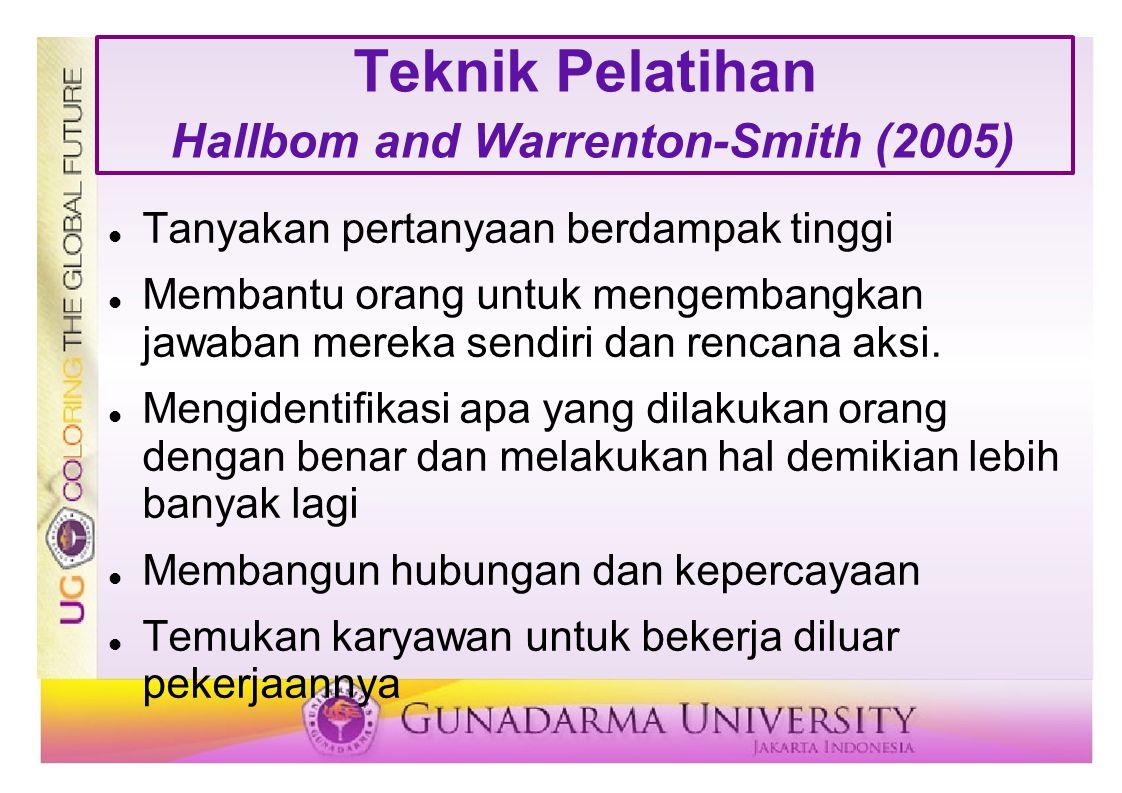 Teknik Pelatihan Hallbom and Warrenton-Smith (2005)