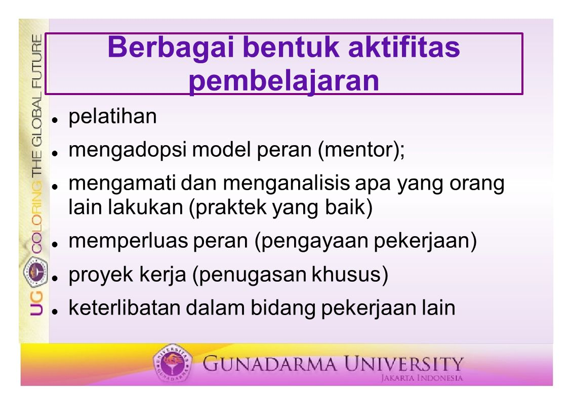 Berbagai bentuk aktifitas pembelajaran