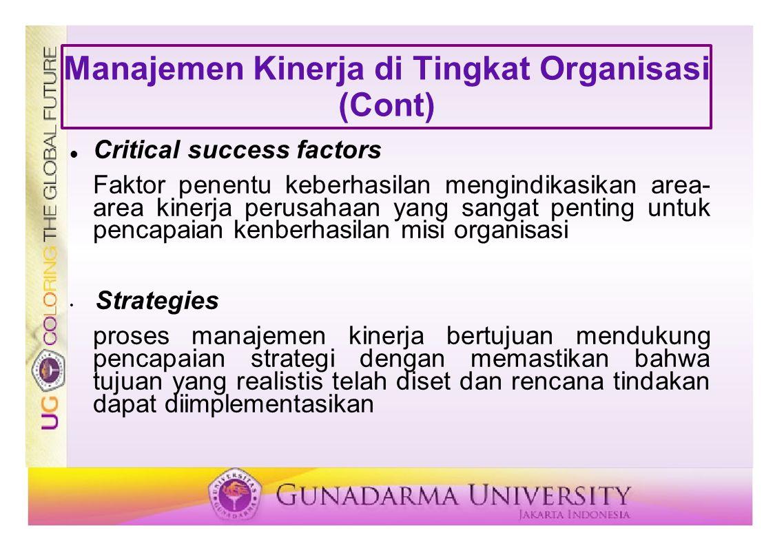 Manajemen Kinerja di Tingkat Organisasi (Cont)