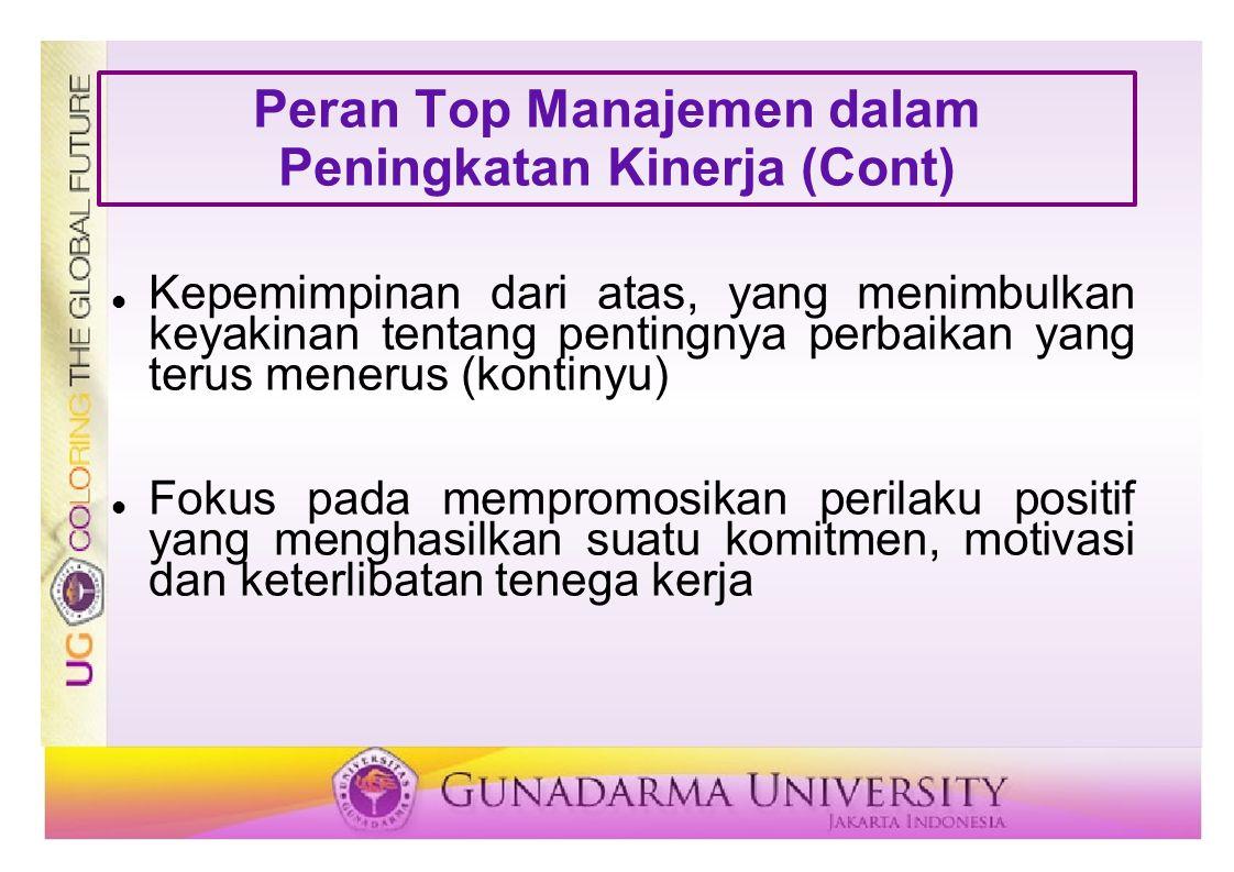 Peran Top Manajemen dalam Peningkatan Kinerja (Cont)