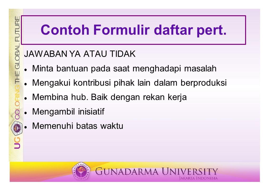 Contoh Formulir daftar pert.