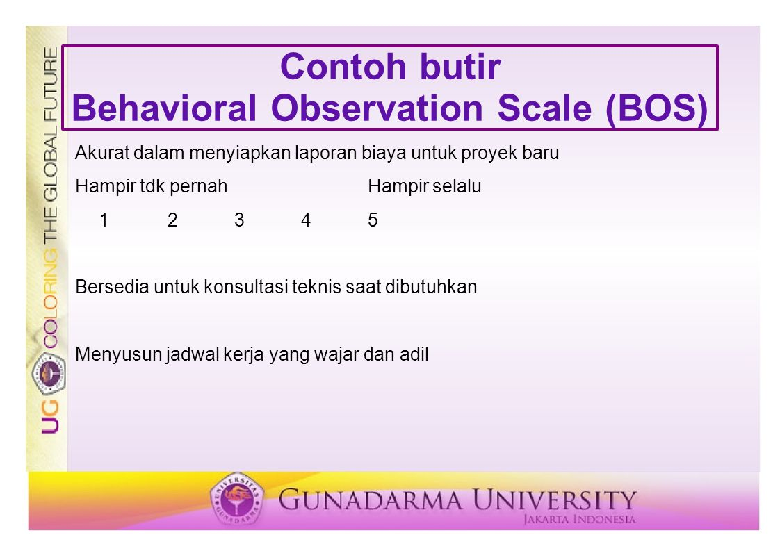 Contoh butir Behavioral Observation Scale (BOS)