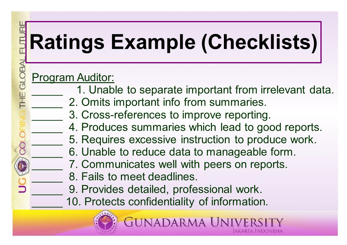 Ratings Example (Checklists)