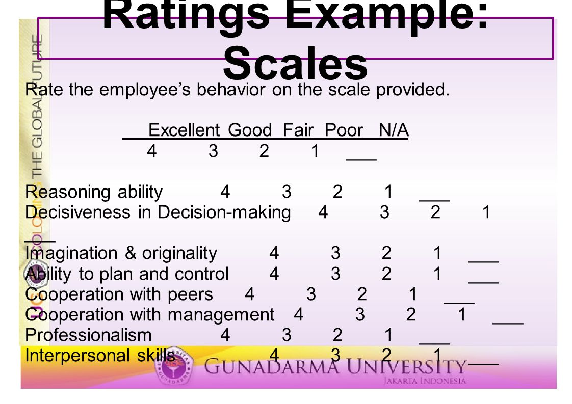 Ratings Example: Scales