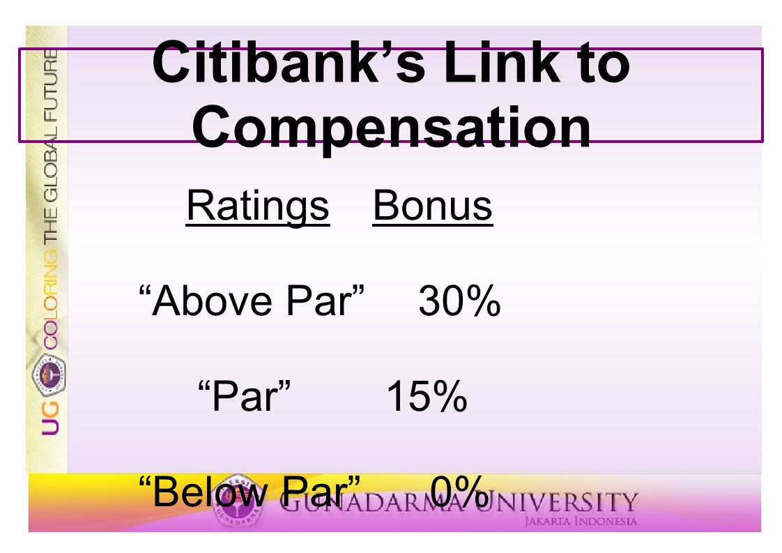 Citibank's Link to Compensation
