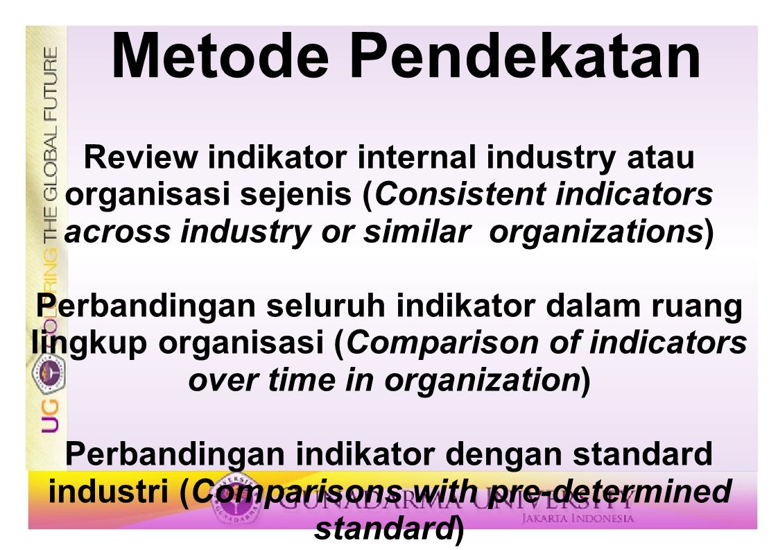 Metode Pendekatan Review indikator internal industry atau organisasi sejenis (Consistent indicators across industry or similar organizations)