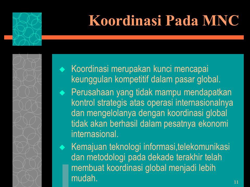Koordinasi Pada MNC Koordinasi merupakan kunci mencapai keunggulan kompetitif dalam pasar global.