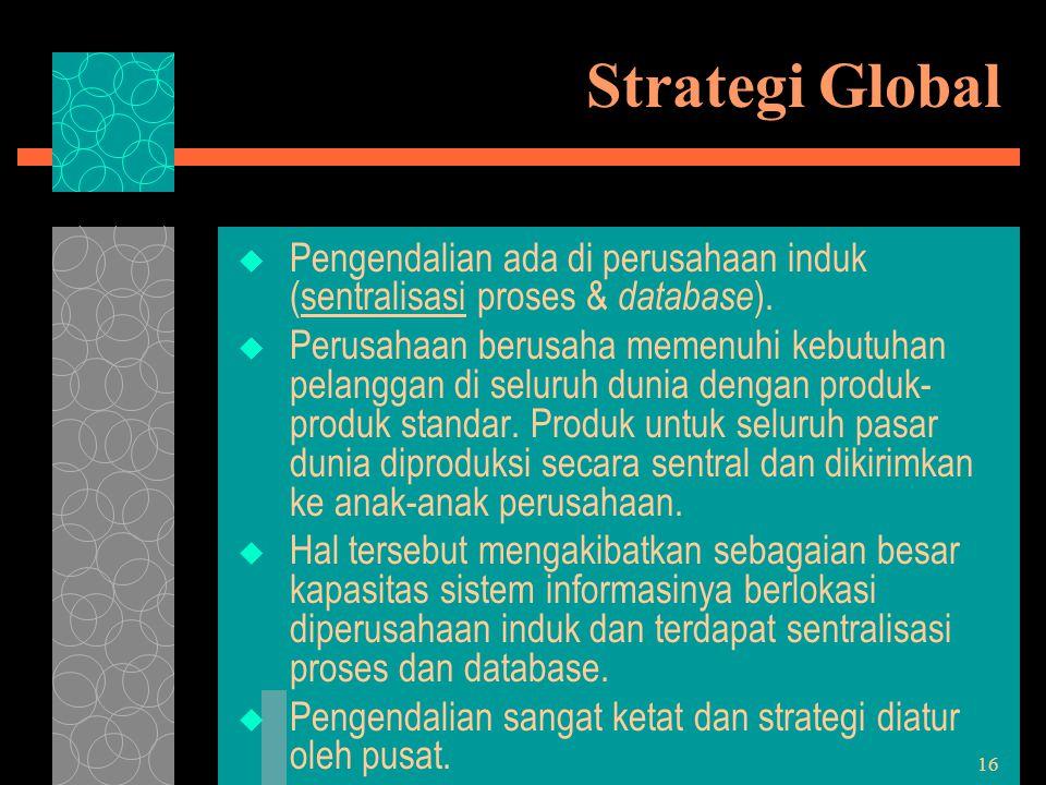 Strategi Global Pengendalian ada di perusahaan induk (sentralisasi proses & database).