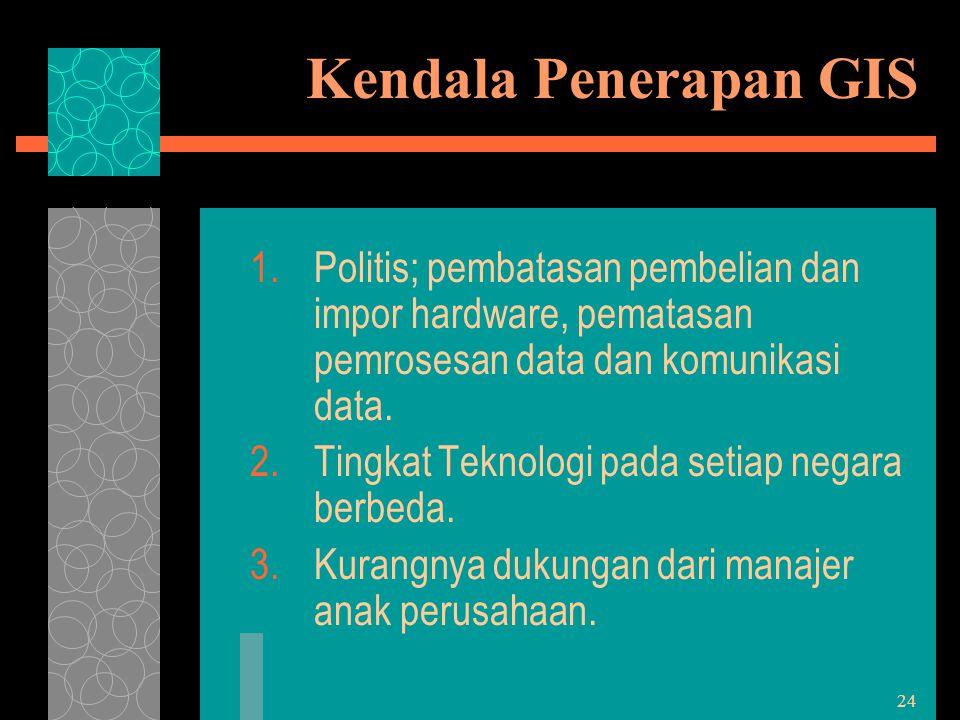 Kendala Penerapan GIS Politis; pembatasan pembelian dan impor hardware, pematasan pemrosesan data dan komunikasi data.