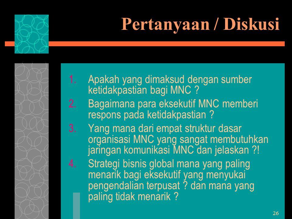 Pertanyaan / Diskusi Apakah yang dimaksud dengan sumber ketidakpastian bagi MNC Bagaimana para eksekutif MNC memberi respons pada ketidakpastian