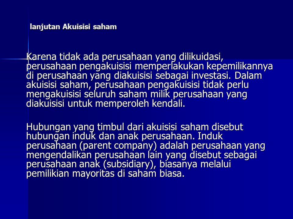 lanjutan Akuisisi saham