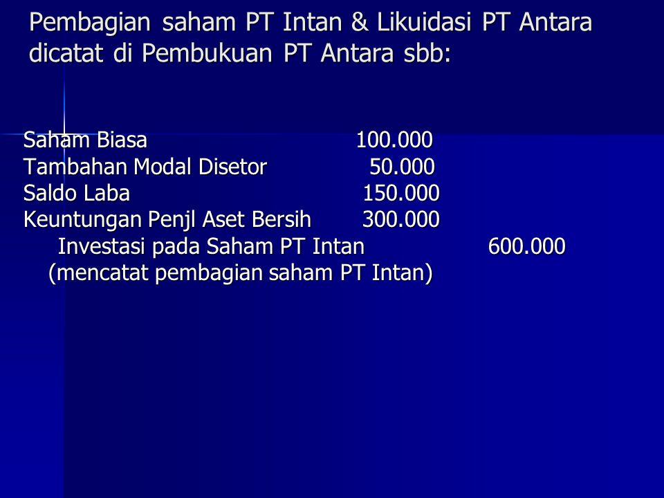Pembagian saham PT Intan & Likuidasi PT Antara dicatat di Pembukuan PT Antara sbb: