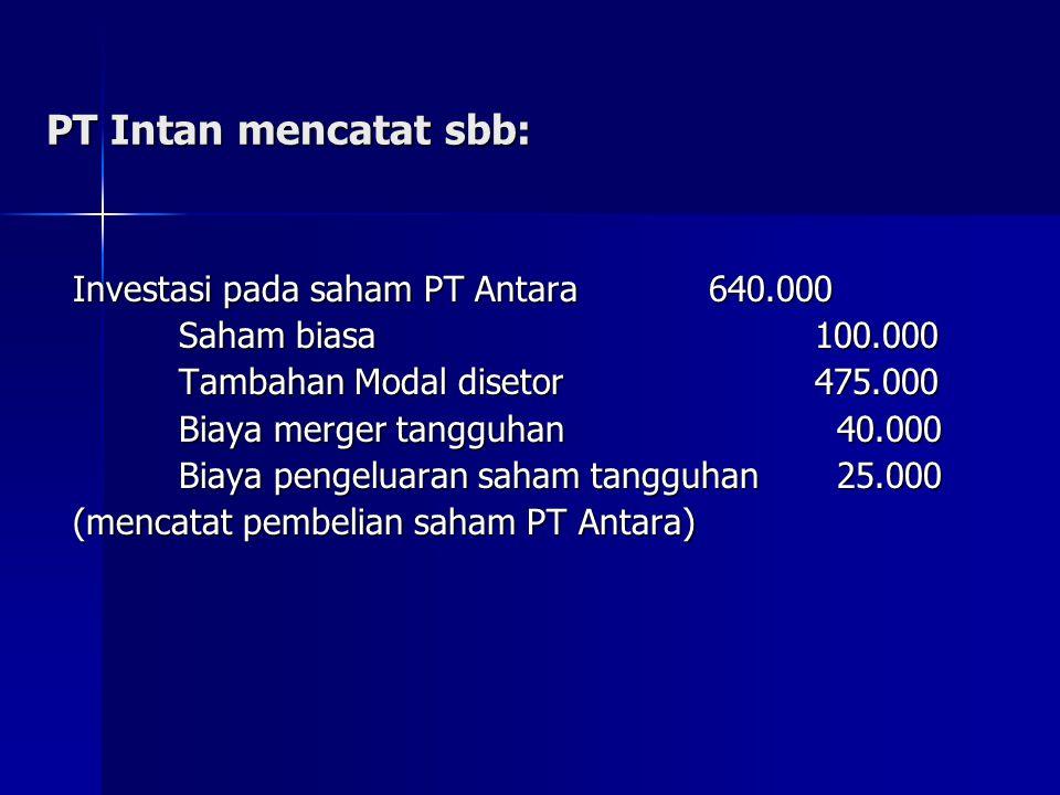 PT Intan mencatat sbb: Investasi pada saham PT Antara 640.000