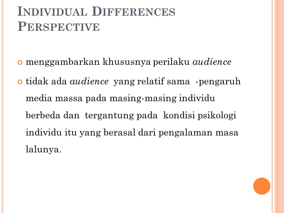 Individual Differences Perspective