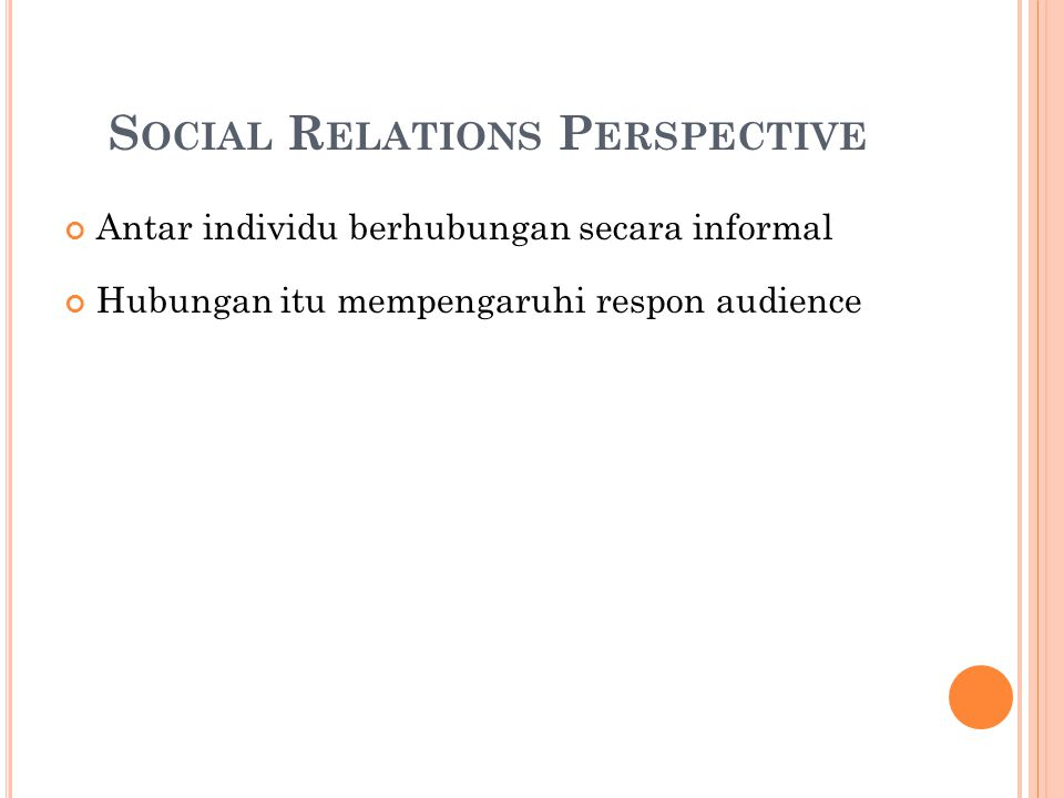 Social Relations Perspective