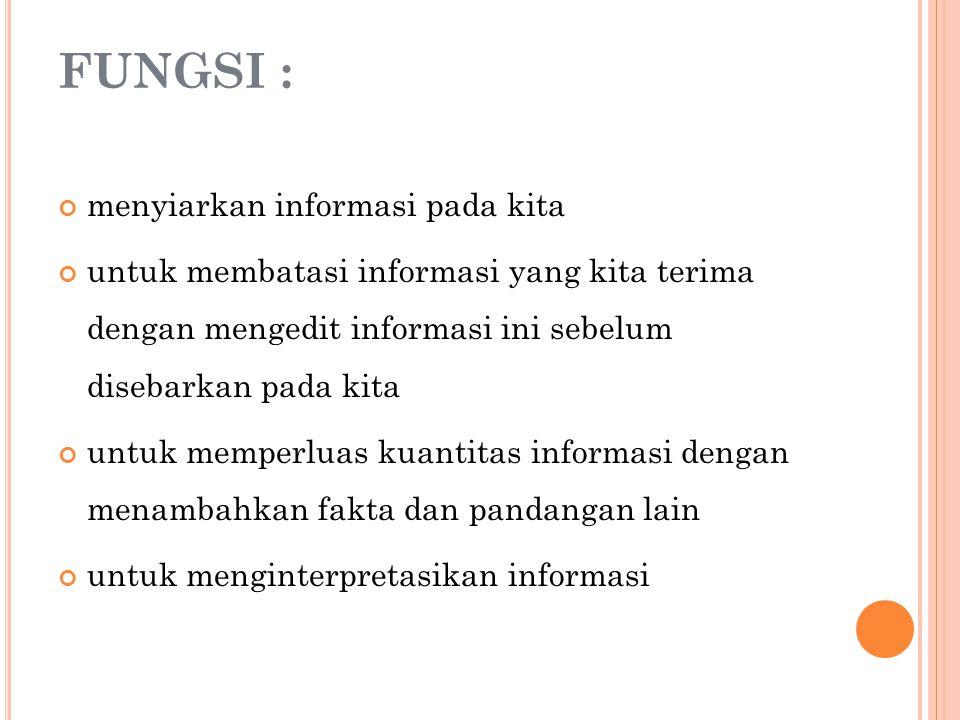FUNGSI : menyiarkan informasi pada kita