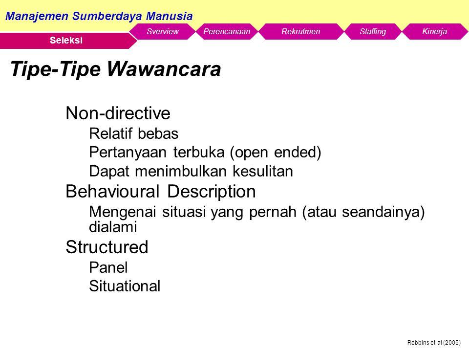 Tipe-Tipe Wawancara Non-directive Behavioural Description Structured