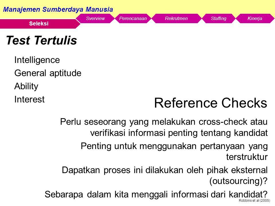 Reference Checks Test Tertulis Intelligence General aptitude Ability