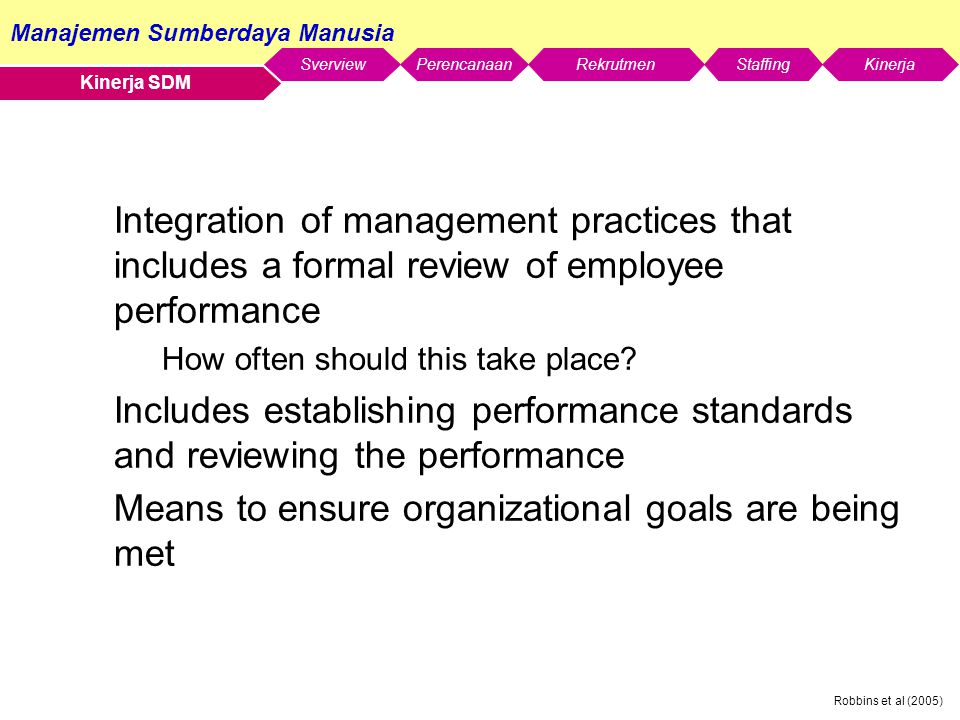 Means to ensure organizational goals are being met