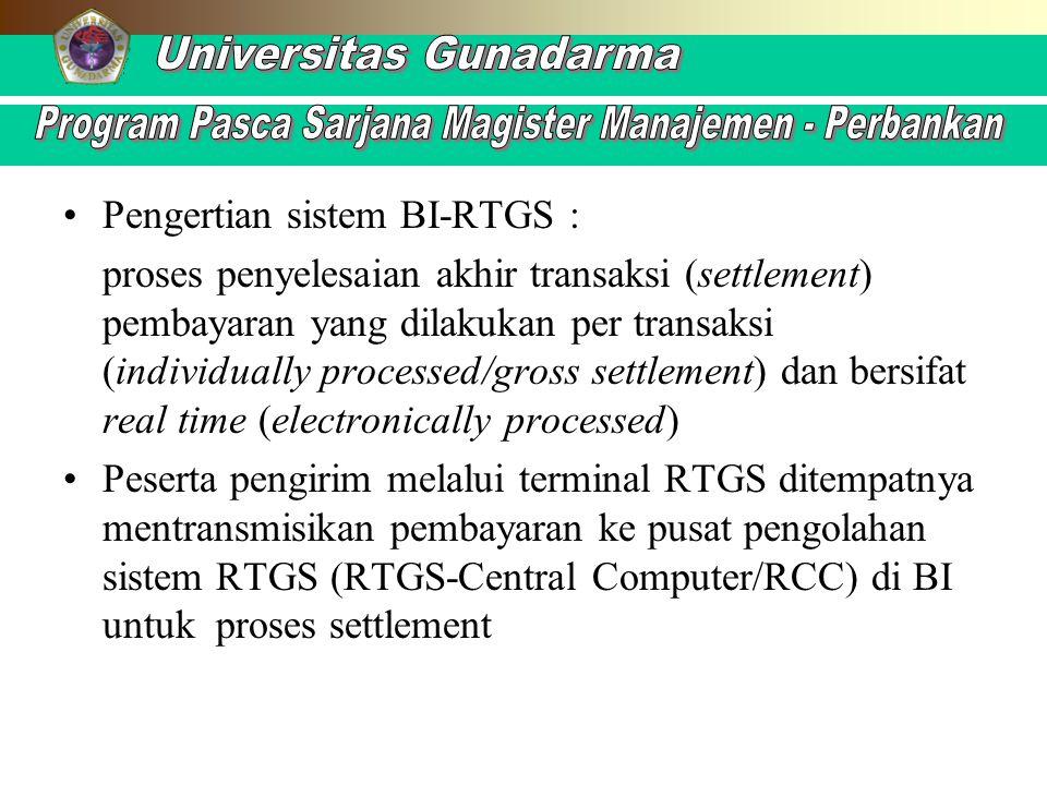 Pengertian sistem BI-RTGS :