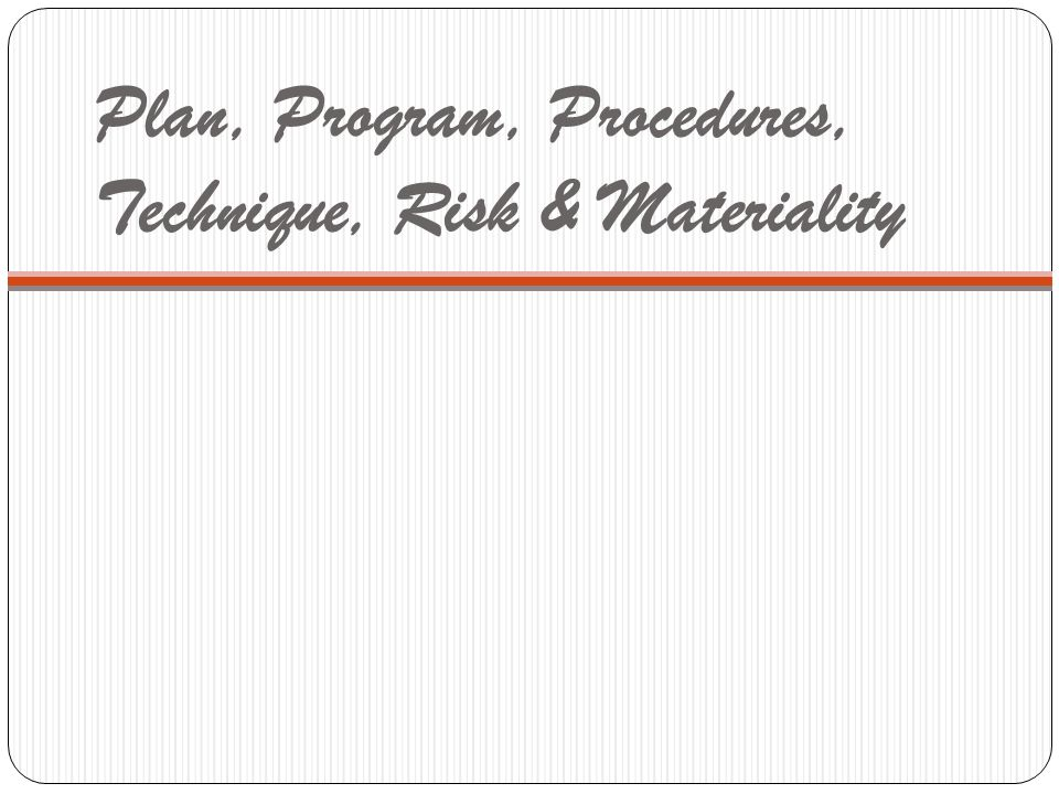 Plan, Program, Procedures, Technique, Risk & Materiality