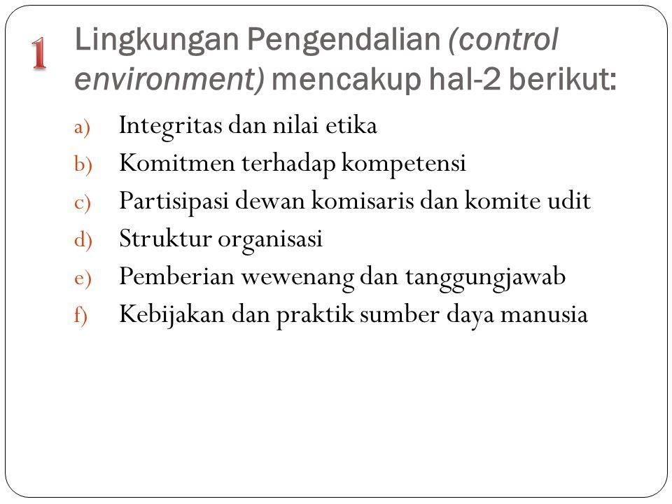 Lingkungan Pengendalian (control environment) mencakup hal-2 berikut: