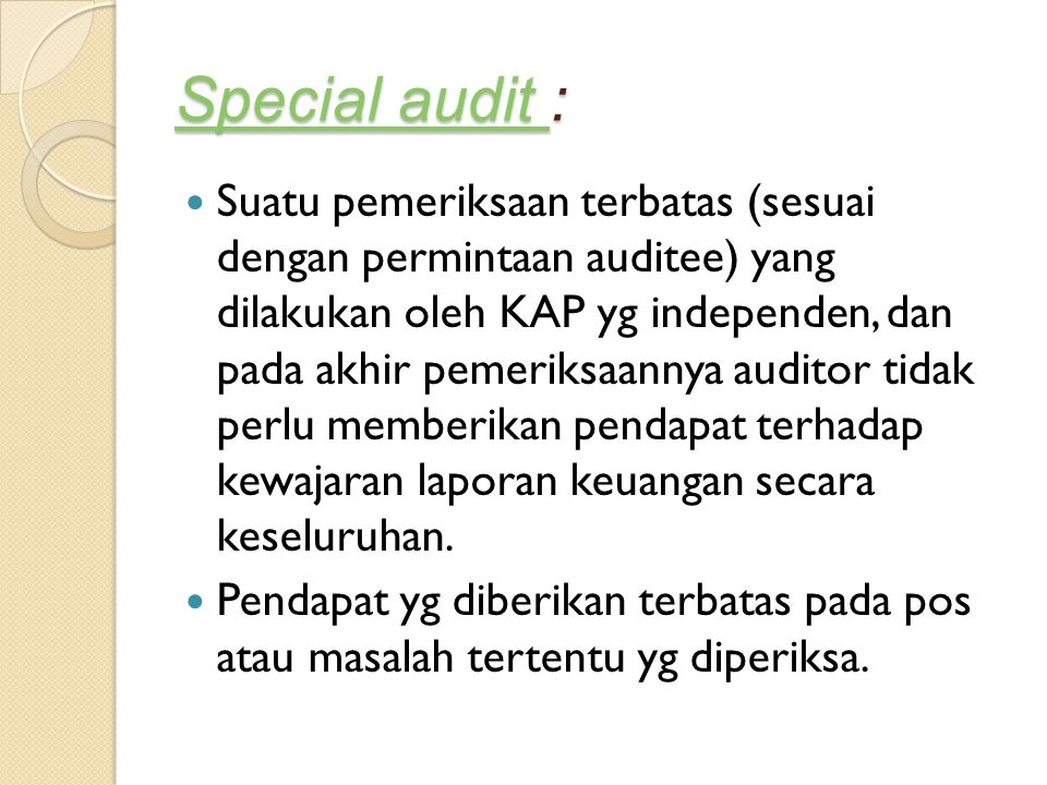 Special audit :