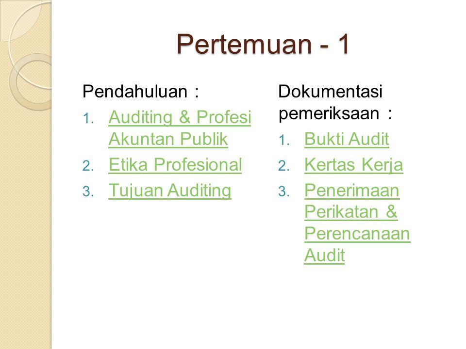 Pertemuan - 1 Pendahuluan : Auditing & Profesi Akuntan Publik