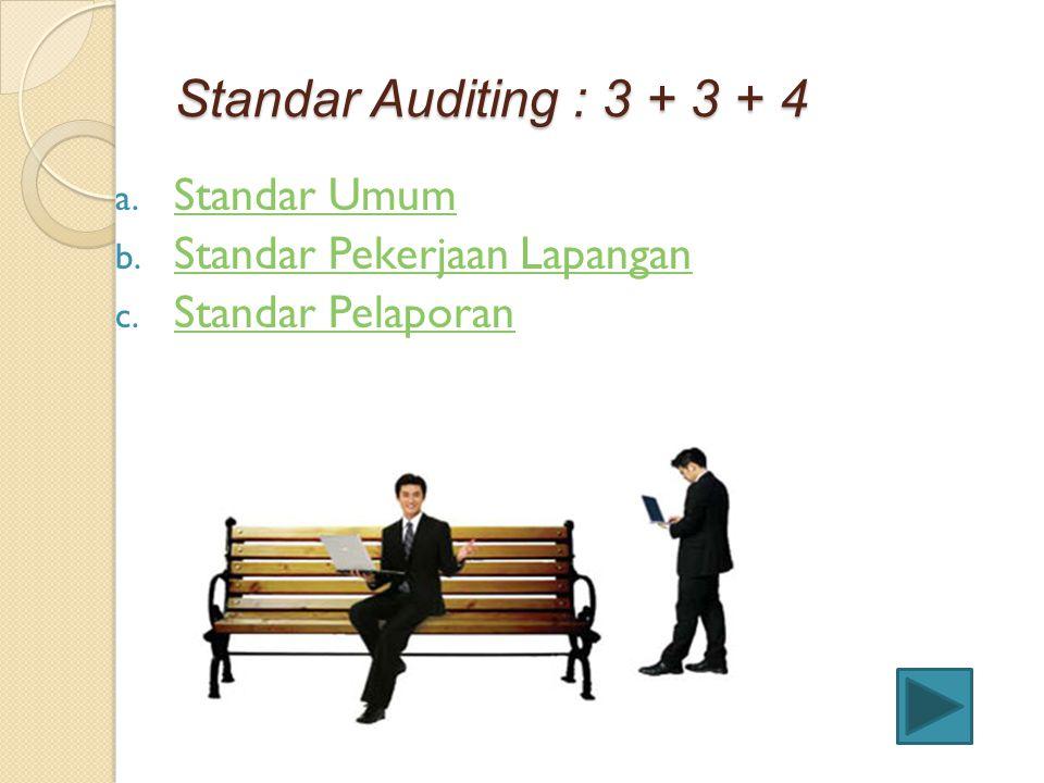 Standar Auditing : 3 + 3 + 4 Standar Umum Standar Pekerjaan Lapangan