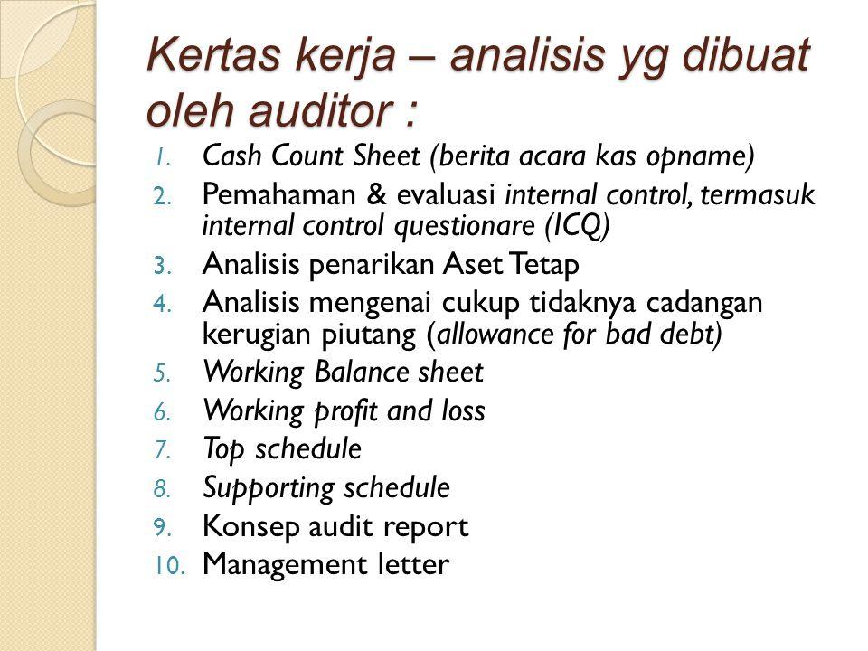 Kertas kerja – analisis yg dibuat oleh auditor :