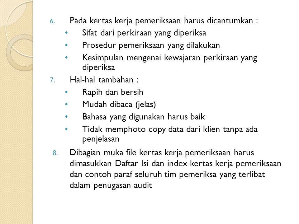 Pada kertas kerja pemeriksaan harus dicantumkan :