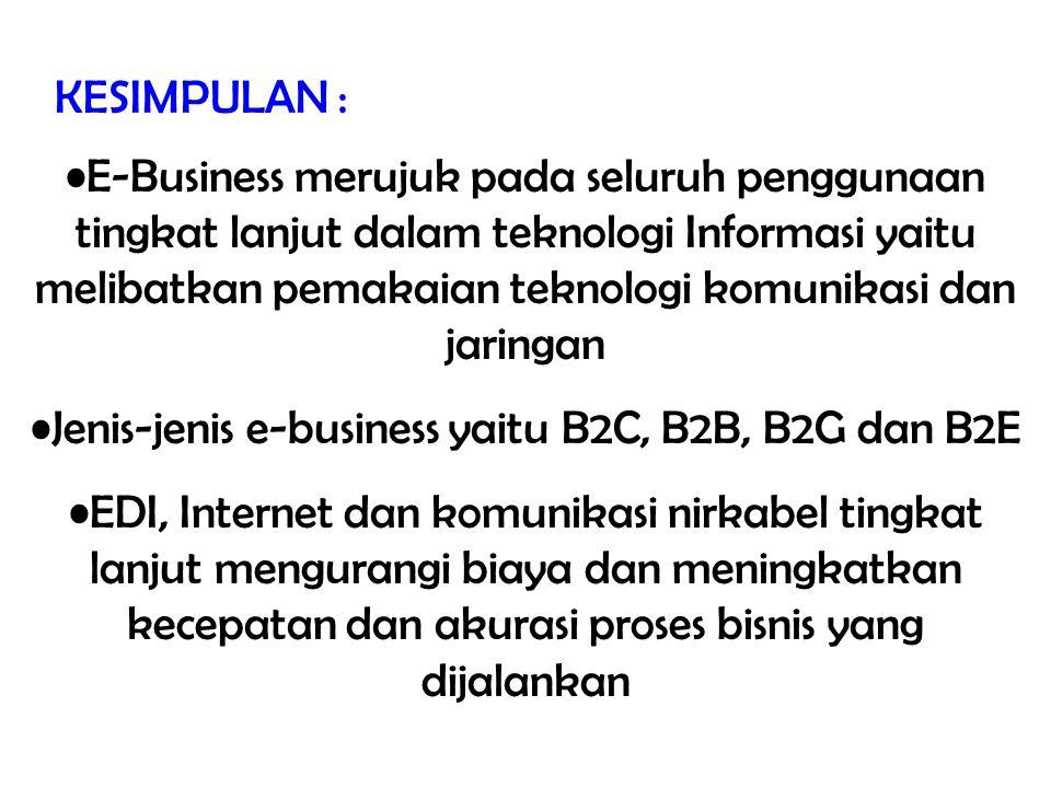 Jenis-jenis e-business yaitu B2C, B2B, B2G dan B2E