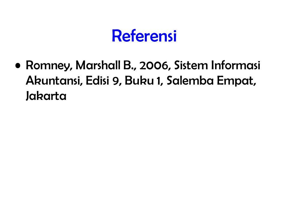 Referensi Romney, Marshall B., 2006, Sistem Informasi Akuntansi, Edisi 9, Buku 1, Salemba Empat, Jakarta.