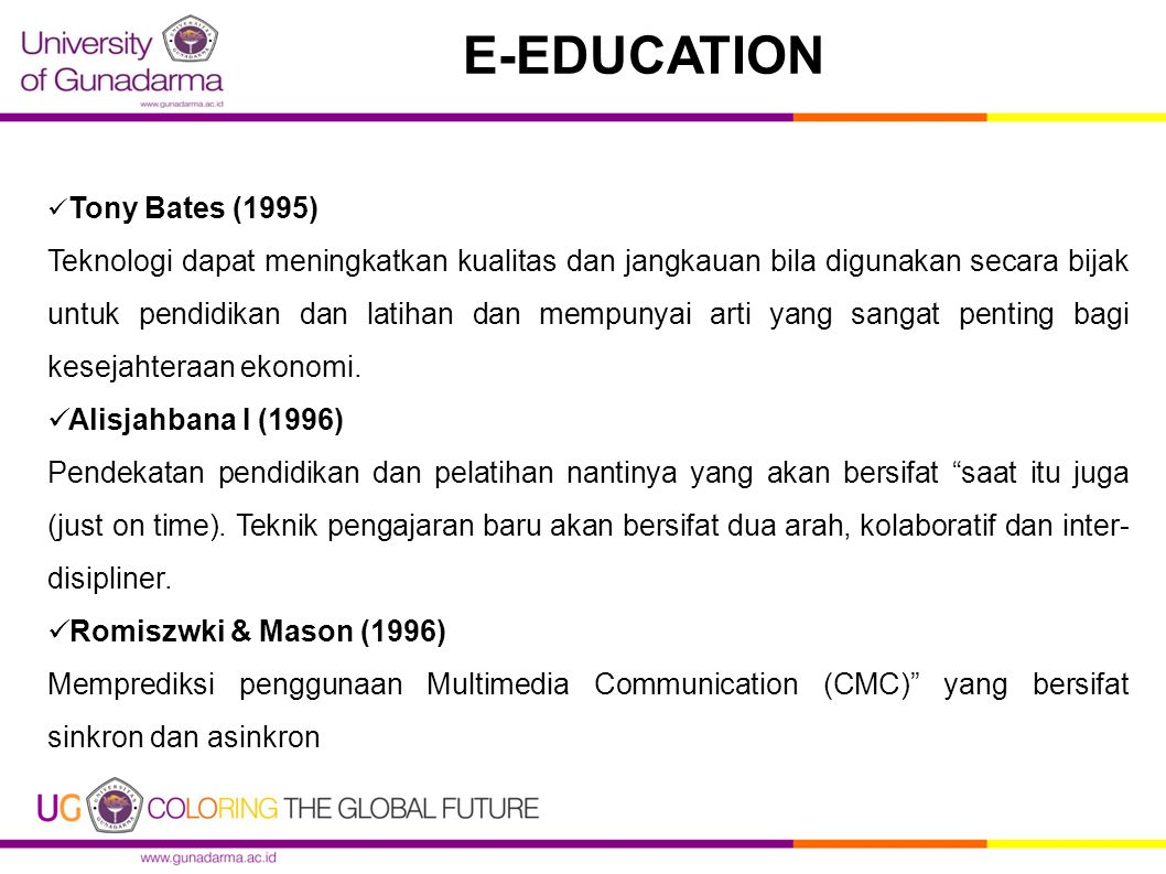 E-EDUCATION Tony Bates (1995)
