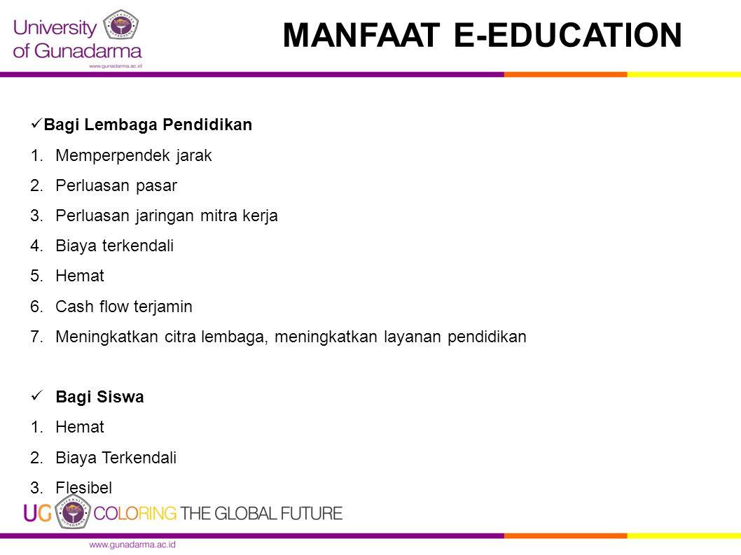 MANFAAT E-EDUCATION Bagi Lembaga Pendidikan Memperpendek jarak