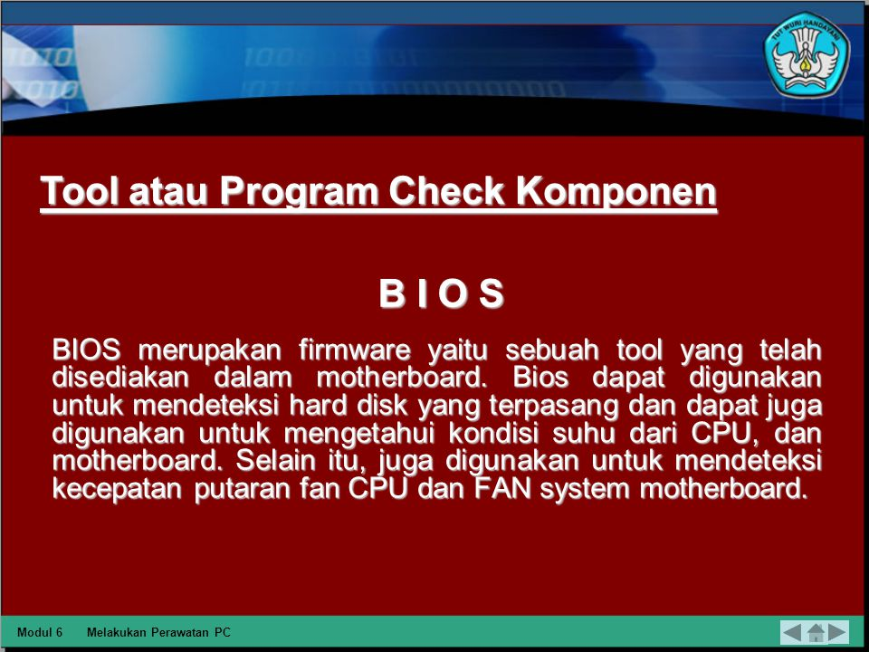 Tool atau Program Check Komponen