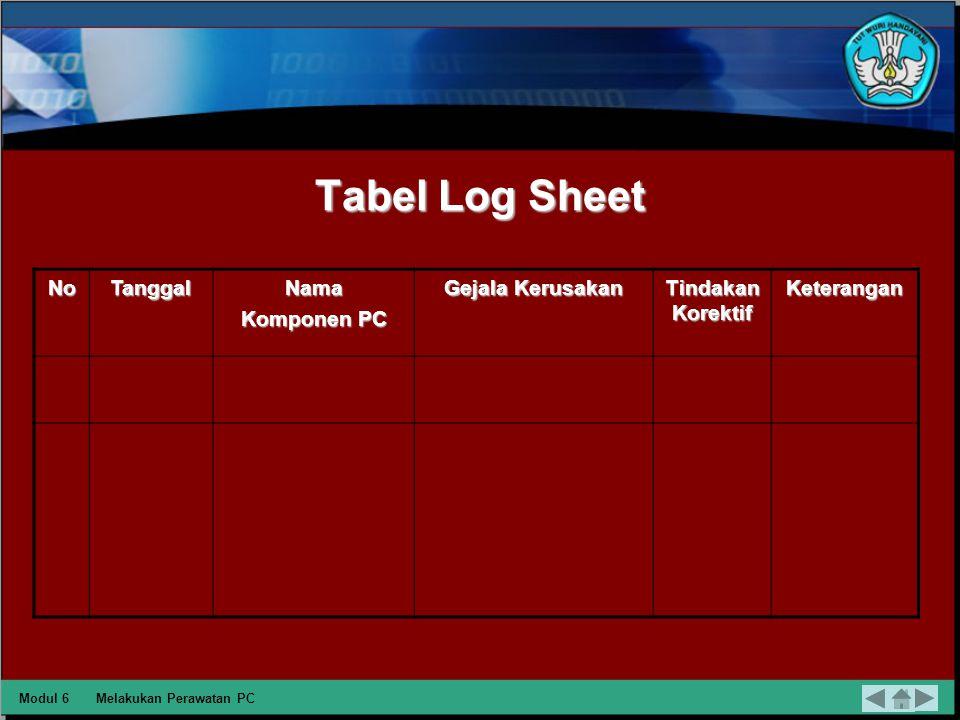 Tabel Log Sheet No Tanggal Nama Komponen PC Gejala Kerusakan