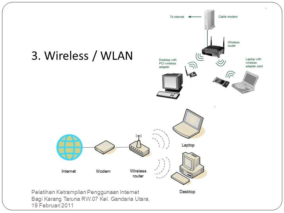 3. Wireless / WLAN Pelatihan Ketrampilan Penggunaan Internet Bagi Karang Taruna RW.07 Kel.