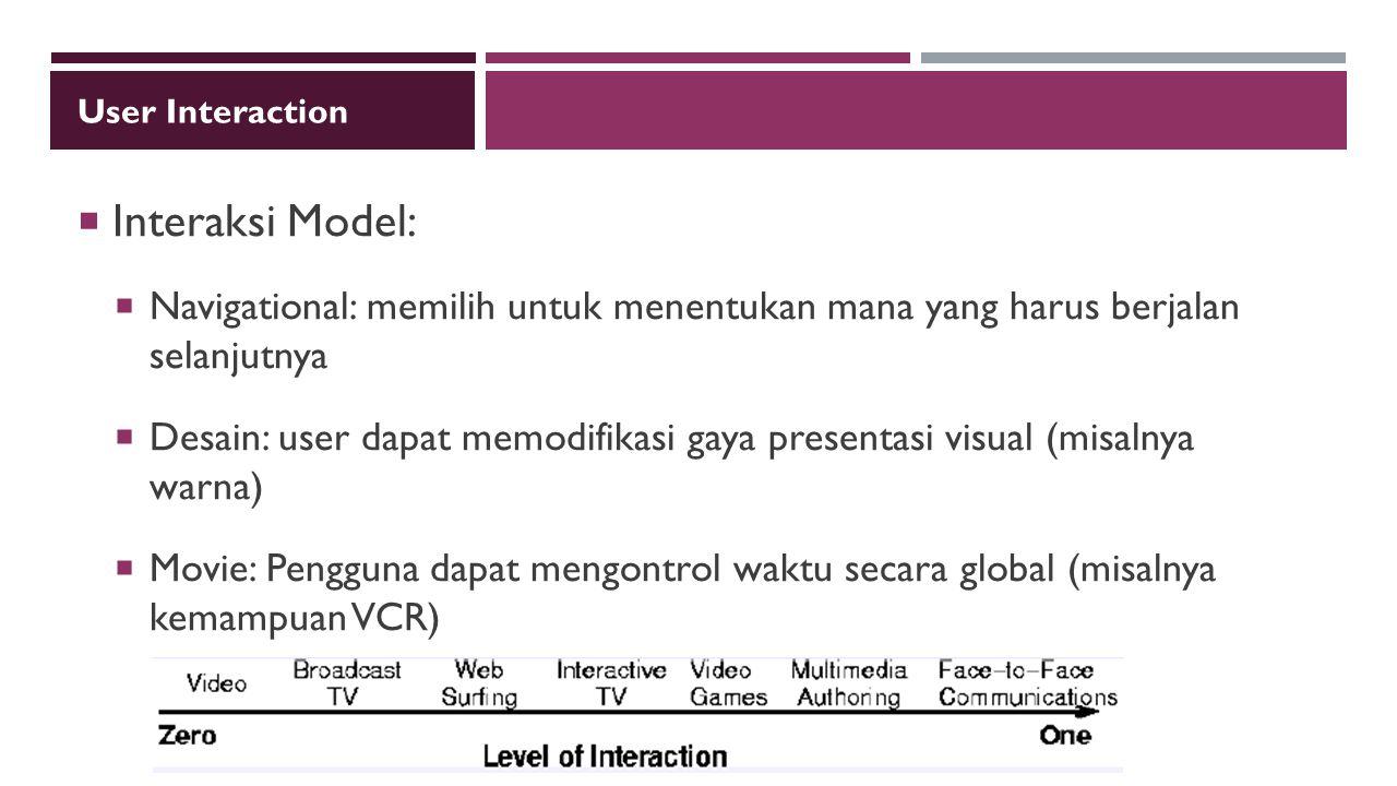 User Interaction Interaksi Model: Navigational: memilih untuk menentukan mana yang harus berjalan selanjutnya.