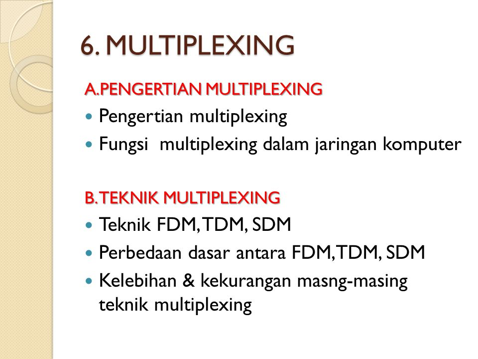 6. MULTIPLEXING Pengertian multiplexing
