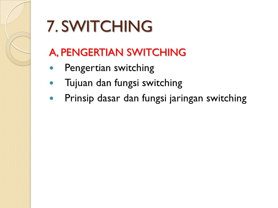 7. SWITCHING A, PENGERTIAN SWITCHING Pengertian switching
