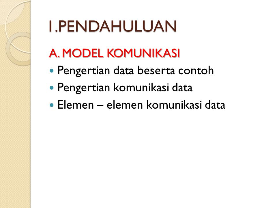 1.PENDAHULUAN A. MODEL KOMUNIKASI Pengertian data beserta contoh