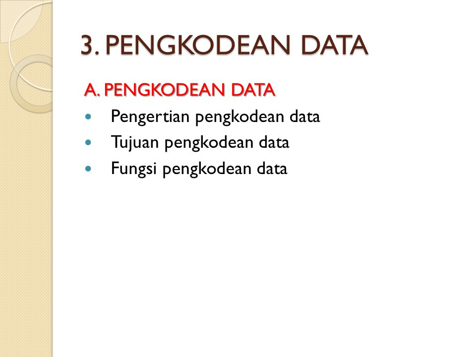 3. PENGKODEAN DATA A. PENGKODEAN DATA Pengertian pengkodean data