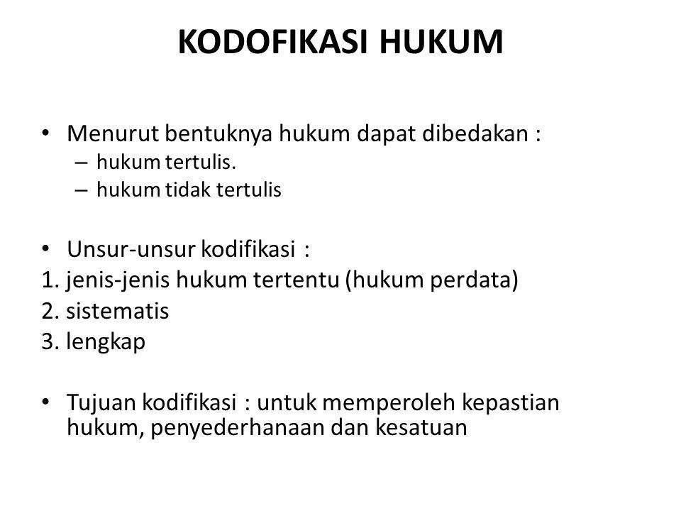 KODOFIKASI HUKUM Menurut bentuknya hukum dapat dibedakan :