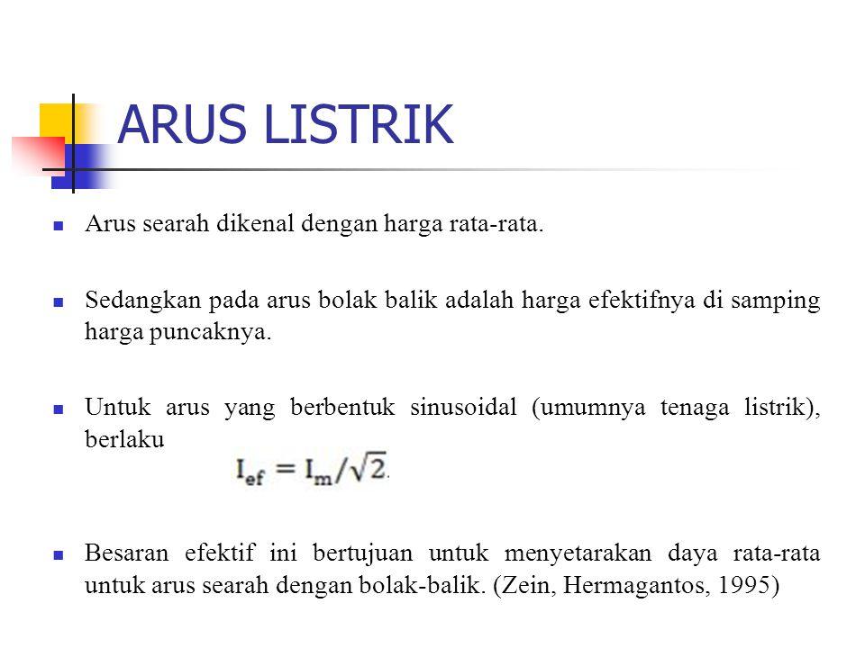 ARUS LISTRIK Arus searah dikenal dengan harga rata-rata.