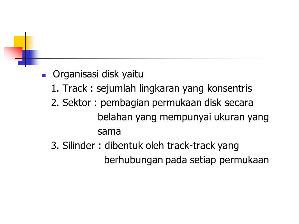Organisasi disk yaitu 1. Track : sejumlah lingkaran yang konsentris. 2. Sektor : pembagian permukaan disk secara.