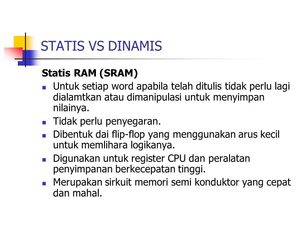 STATIS VS DINAMIS Statis RAM (SRAM)